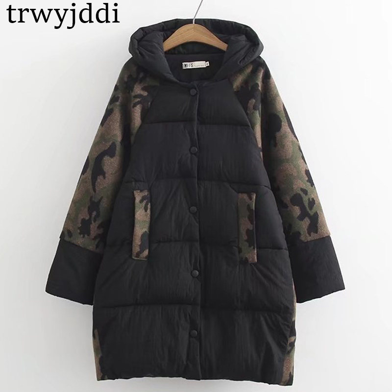 C1 Winter Casual   Parkas   6xl Plus Size Women Clothing Loose camouflage Nylon Splice Hooded padding by hand Thick warm Coat 8043
