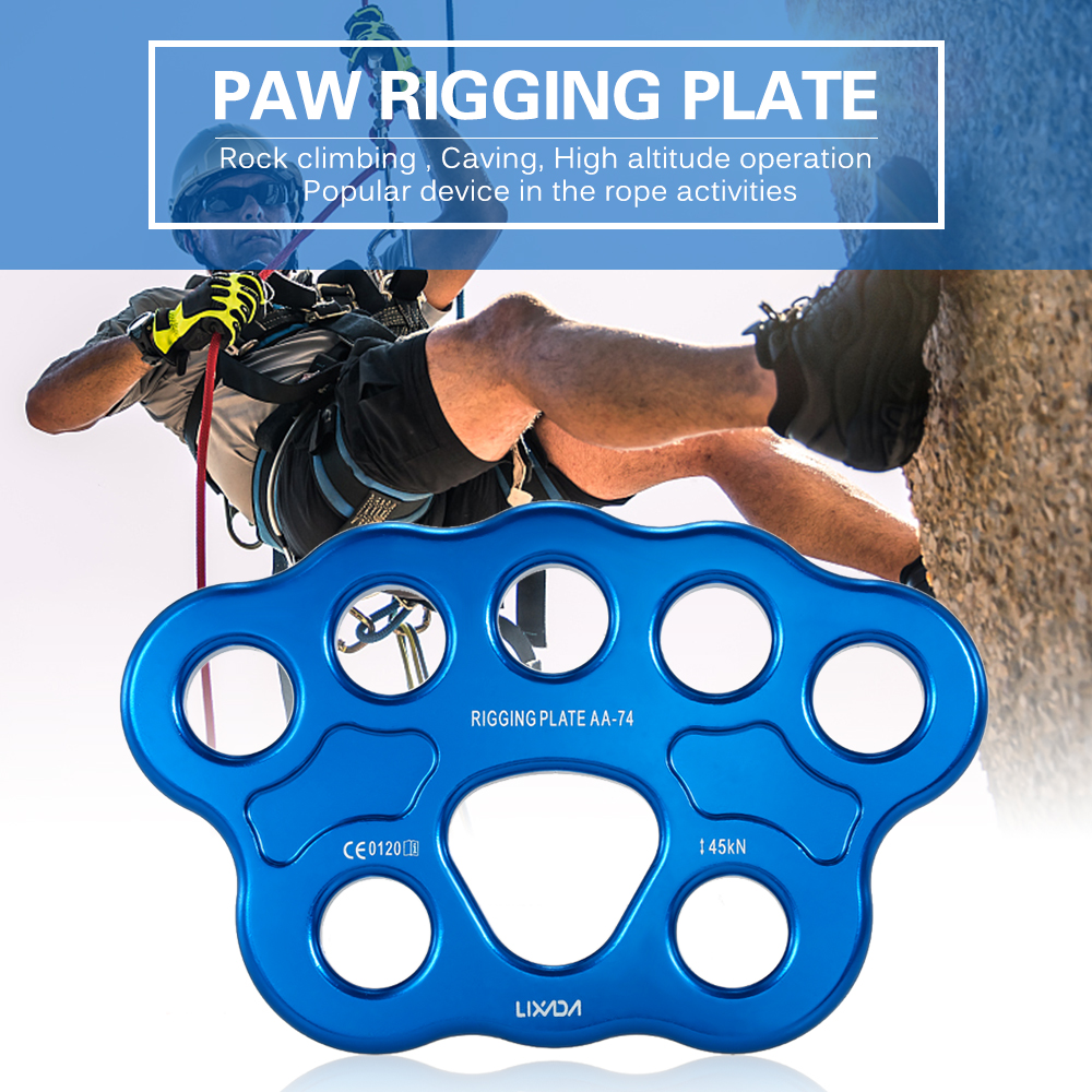 Lixida 8 / 15 Holes Outdoor Paw Rigging Plate 45KN Rescue Rock Climbing Mountaineering Anchor Point Connector Gear Rigging Plate