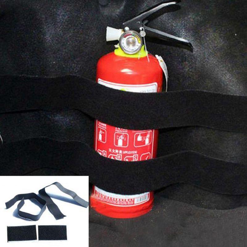 Hot Portable 1 Set Car Trunk Store Rapid Fire Extinguisher Holder Safety Strap Kit Accessories 4pcs(Black)