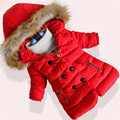 2016 New Styles Children's Fashion Hats Coat Girls Winter Warm Coats Children Inverno Long Thick Padded Cotton-padded Clothes