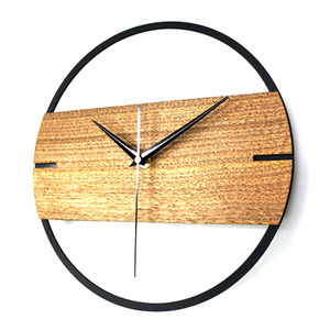Image 2 - Hot Vintage Wall Clock Simple Modern Design Wooden Clocks For Bedroom 3D Stickers Wood Wall Watch Home Decor Silent 12 In
