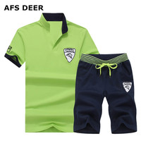 Two Piece Set Men Short Sleeve T Shirt Cropped Top Shorts Men S Tracksuits 2018 New