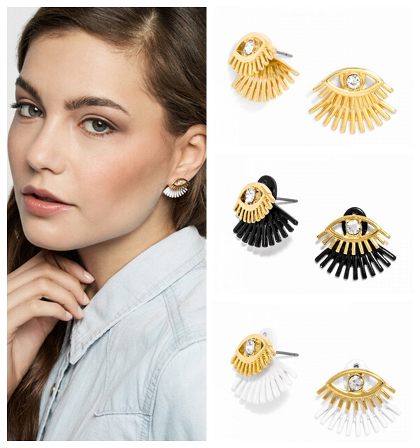 01c666375 Fashion Eyelashes Painted Black and White Matt Eye Drop Earrings Women