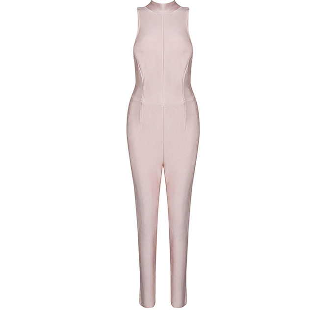 Women Rompers Nude High Waist Women Casual Rompers Khaki Nude Skinny Slim Full Length Bandage Jumpsuits Women Sexy Party Wear