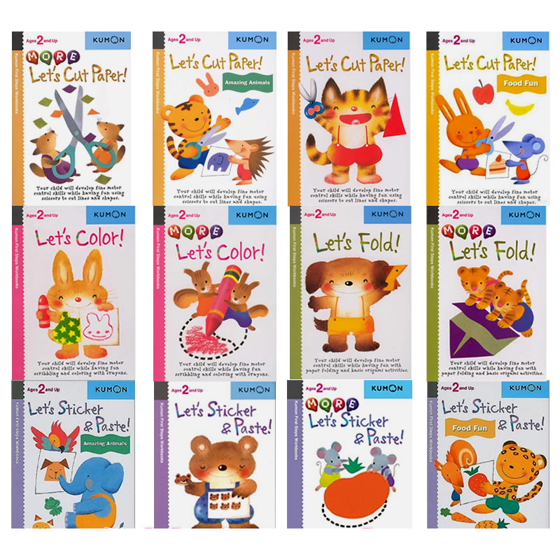 12 Pcs/set Kumon Let's Cut Paper First Step Workbooks Picture Books For Kids Children Origami Paper Cut Sticker Handmade Books
