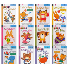 12 pcs/set Kumon Lets Cut Paper first step workbooks picture books for kids children Origami paper cut sticker handmade books