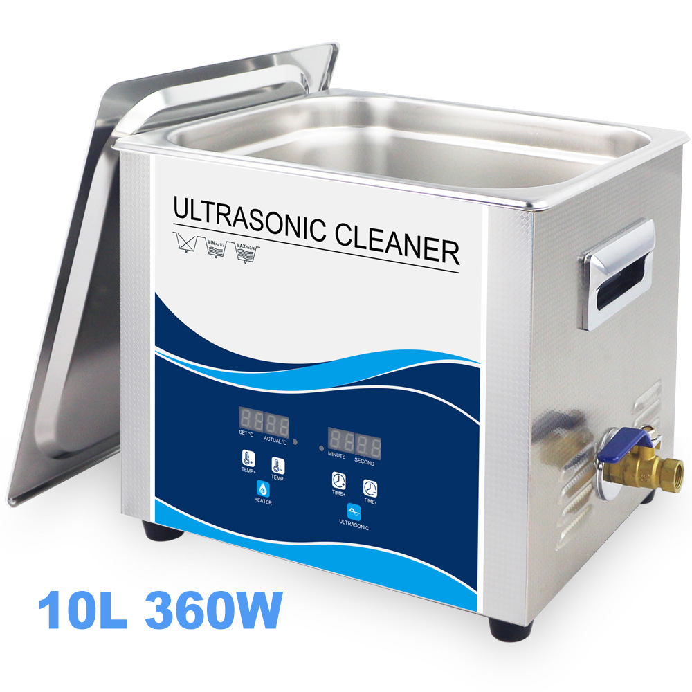 10L Ultrasonic Cleaning Machine 240W/360W Optional 220V 40khz Industrial Mechanical Parts Washer Lab Electronic Board Cleaner