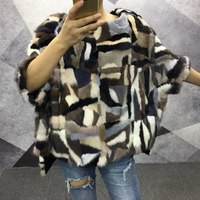 women winter natural mink fur poncho and cape 2018 new colorful genuine mink fur shawls short sleeve autumn fur coat and jackets