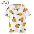 Camisetas 2016 mujeres del verano CAMISETAS mujer fruta de la piña mujer O-cuello de las mujeres ocasionales de manga corta Camisetas Tee Tops mujer de la ropa camiseta feminina