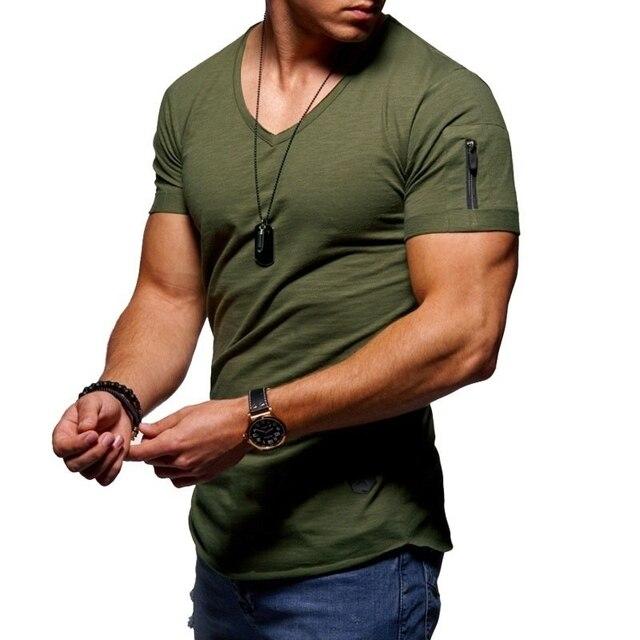 Fermeture éclair manches coupe ajustée t-shirt hommes col en V bord brut t-shirt hommes camisetas hombre hip hop steetwear hauts t-shirt homme t-shirt