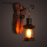 American retro corridor coffee restaurant network bedside study candlestick glass solid wood decorative wall lamp