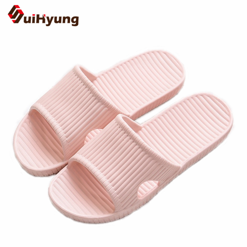 Suihyung New Women's Home Slippers Non-slip EVA Bathroom Slippers Solid Summer Shoes Female Beach Flip Flops Soft Bottom Sandals coolsa women s candy color indoor massage slippers lightweight solid eva home non slip massage slippers beach slippers flip flop