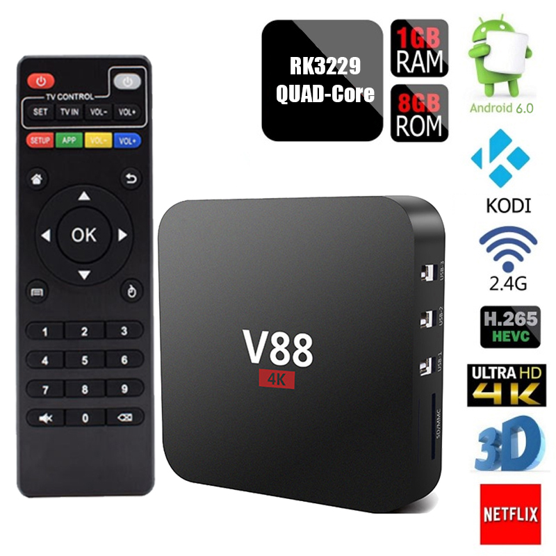 V88 Android TV BOX RK3229 KODI 16 1 XBMC H 265 Quad Core UHD 4K Smart