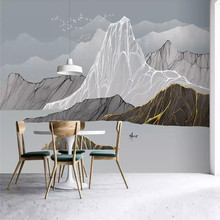Modern Zen Light Luxury Abstract Ink Landscape Background Wall Professional Custom Mural Wholesale Wallpaper Poster Photo
