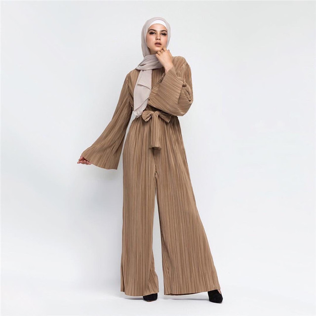 52b507a90 US $36.79 |2018 New Fashion Muslim Clothing Jumpsuits with Belt Women  Turkey Islamic Clothing-in Islamic Clothing from Novelty & Special Use on  ...