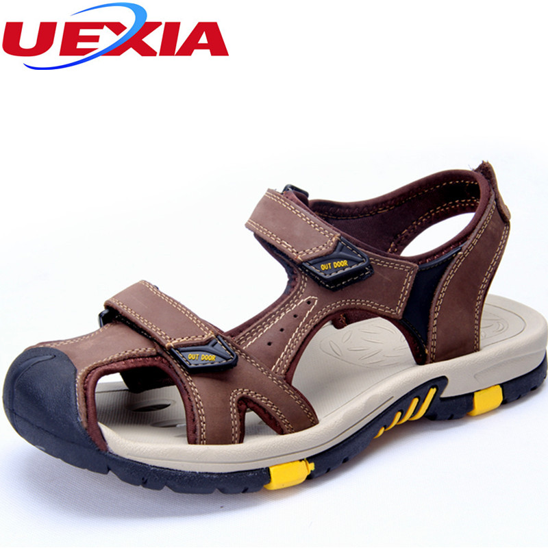 Summer Casual Men Shoes Beach Sandals Leather Zapatos Outdoor New Anti collision Toe Waterproof Sport Closed