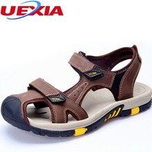 Verano de Los Hombres Ocasionales Zapatos de Cuero Sandalias de Playa Zapatos Al Aire Libre Nueva Toe anticolisión Impermeable Deporte Desgaste Del Dedo Del Pie Cerrado-resistente