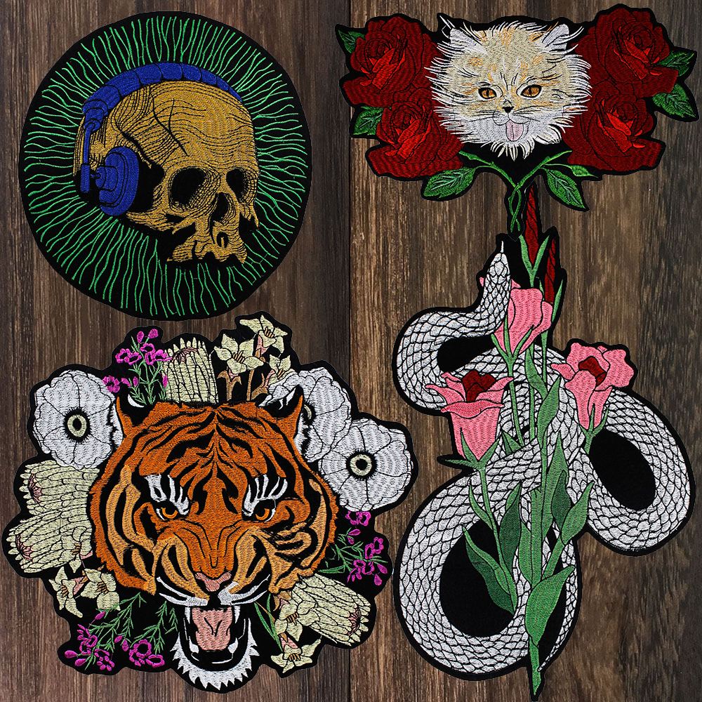 Skull Music Patch Cat Rose Flower Tiger Snake DIY Cloth Badges Patch Jeans Jackets Bag Clothes Apparel Iron on Applique P92