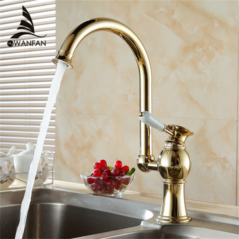 Free Shipping Luxury Golden Brass Kitchen Faucets Tap Single Hand Wash Basin Mixer Water Tap Kitchen