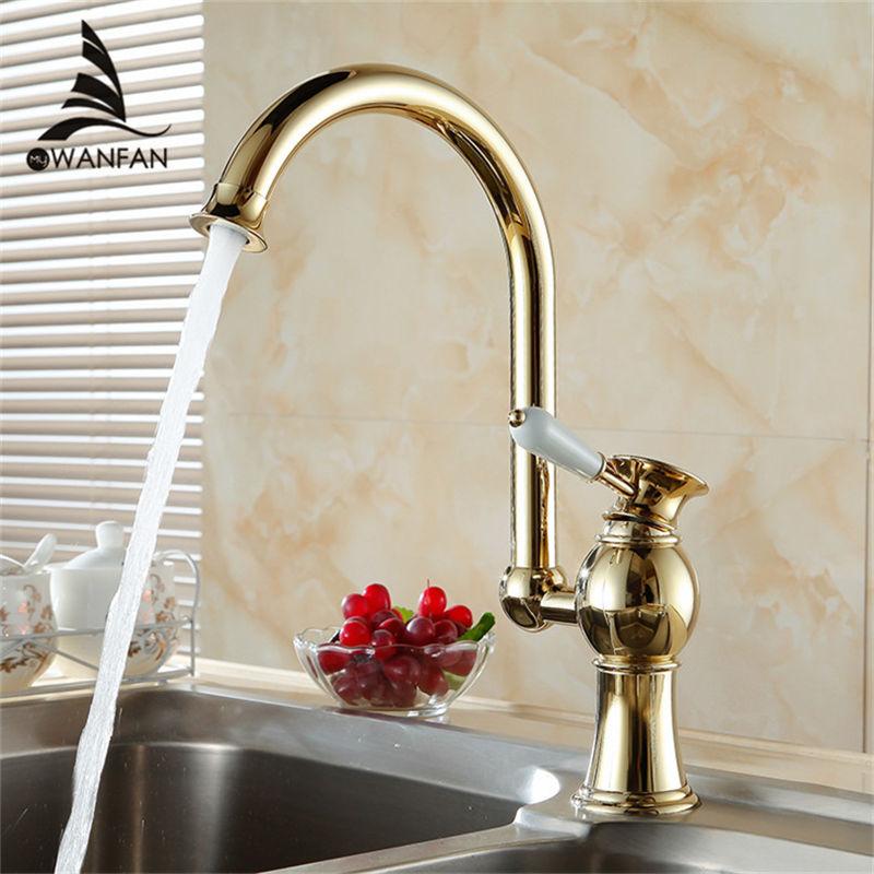 Ktichen Faucet Luxury Golden Brass High Arch Kitchen Sink Faucets Single Handle Swivel Spout Wash Basin
