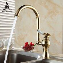 Ktichen Wasserhahn Luxury Golden Messing Hohe Arch Spülbecken Wasserhähne Einzigen Handgriff Schwenkauslauf Waschtischarmatur Wasserhahn DL-9005
