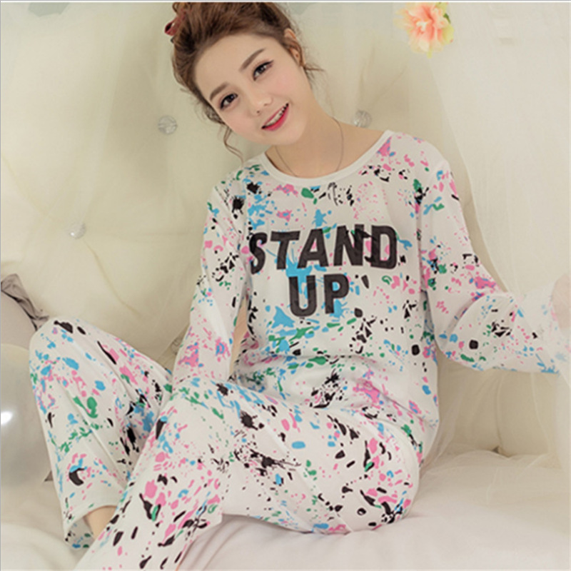 Spring and autumn womens long sleeve trousers sweet youth pajama printed suit of a round collar pajamas home suit pijama