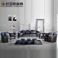 Villa floor black royal arab big round arm europe new classical luxury furniture living room half fabric half leather sofa sets