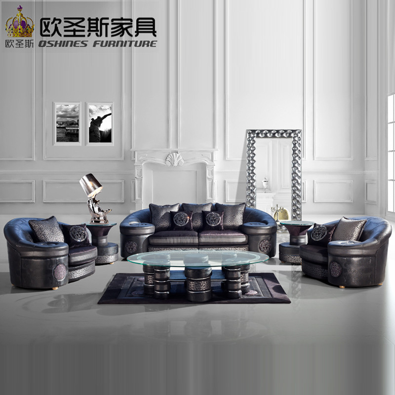Villa floor black royal arab big round arm europe new classical luxury furniture living room half fabric half leather sofa sets promoting social change in the arab gulf