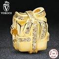 925 Sterling Silver Tudo Embrulhado, cz claro fita do ouro caixa de presente encantos fit pandora pulseira acessórios de jóias s212