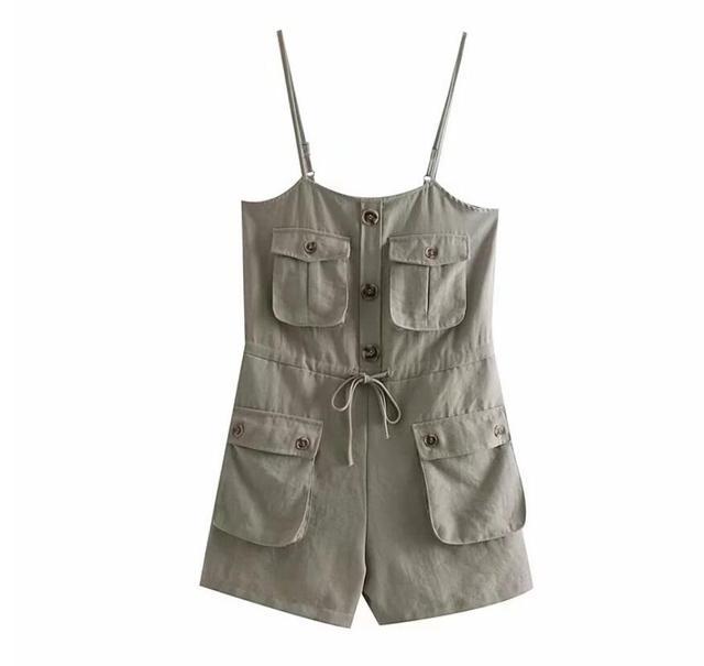 2019 Safari Style Spaghetti Strap Jumpsuit Women Open Button Lacing up Bow Waist Short Pants Romper Cotton Linen Playsuits 3