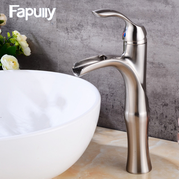 цена на Fapully Waterfall Faucet Bathroom Mixer Brushed Nickel Basin Faucet Brass Nickel Brush Single Handle Lever Mixers 526-22N