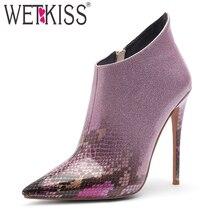 WETKISS/ботильоны из Искусственной Змеиной Кожи; женские ботинки на высоком каблуке-шпильке; Para Mulheres; обувь с острым носком; женская зимняя обувь для вечеринок