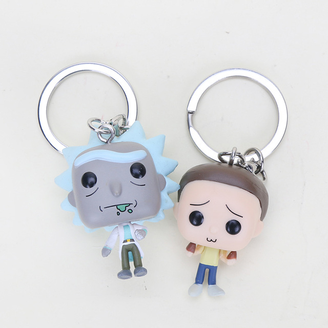 5 cm visão Q Rick e Morty chaveiro Action Figure Model Collection Toy pingente rick morty Bonecas chaveiro Presentes