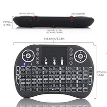 Remote Control Touchpad 2.4GHz Wireless Mini Keyboard Backlit LED Dimmable USB Keyboard For TV BOX PS3 XBOX 360 PC BT0739 T10