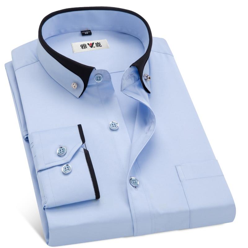 MACROSEA Men's Business Dress Shirts Male Formal Button-Down Collar Shirt Fashion Style Spring&Autumn Men's Casual Shirt 3