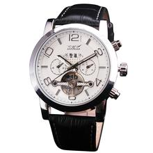 2016 New Design Noble Man's Mechanical Wristwatch Complex 3 Sub-dial Tourbillon Genuine Leather Strap Luxury Gift + Box