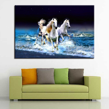 Frame Living Room Wall Art Pictures HD Printed 1 Panel White Horses Running Modern Painting On Canvas Home Decoration Posters - discount item  37% OFF Home Decor