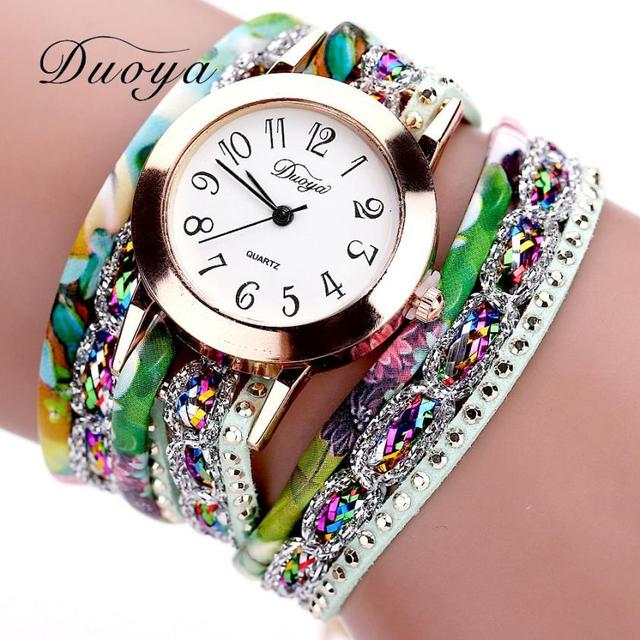 2018 Women Watches Luxury Analog Quartz Watch Leather Bracelet Flower Gemstone Watches Gifts Relogio Feminino Reloj Mujer  #D