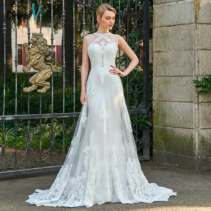 Dressv appliques dentelle à encolure dégagée robe de mariée sans manches cour train zipper up de mariée en plein air et église gaine robes de mariée