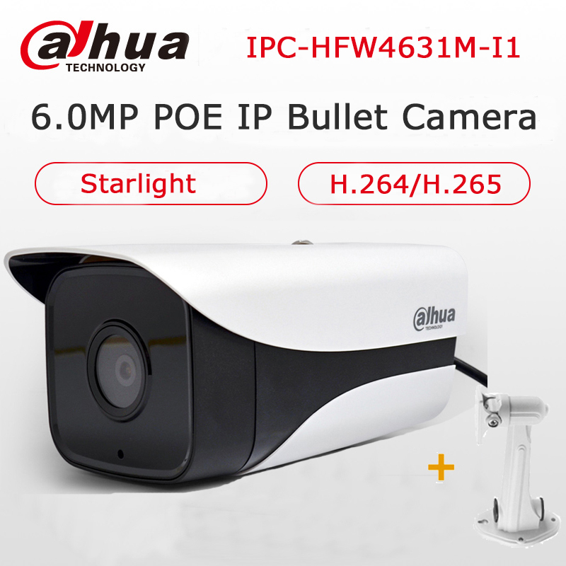 Dahua Starlight 6MP POE IP Camera Outdoor Security H.265 IPC-HFW4631M-I1 Network IP Bullet Camera IP67 Waterproof with Bracket dahua 6mp poe ip camera ipc hfw4631m i2 ip67 ir 80m h 265 wdr onvif outdoor came