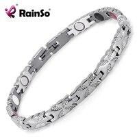 Rainso Women Jewelry Stainless Steel Healing Magnetic Bio Energy Bracelet For Women Accessory Silver Bracelets OSB