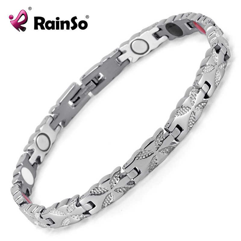 Rainso 女性ジュエリーステンレス磁気バイオエネルギーのブレスレット女性アクセサリーシルバーブレスレット OSB-1538S