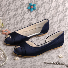 Classic Navy Flat Heel Open Toe Satin Evening Party Shoes Wedding (20 Colors)