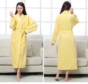Image 3 - Халат хлопковый махровый для мужчин и женщин, всесезонный банный халат для пар, мягкая дышащая впитывающая одежда для сна, ночная рубашка