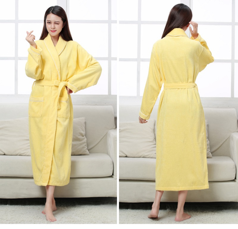 Image 3 - Women Men Cotton Terry BathRobes all seasons couple Robe hotel bathrobe soft breathable absorbent sleepwear Night gown hombre-in Robes from Underwear & Sleepwears