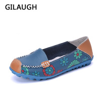 Beautifully Women Leather Shoes Casual Patchwork Style Women Flats 2017