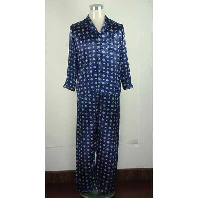 Azul marino Hombres Chinos Satén De Seda Pijamas Pijamas de Manga Larga ropa de Dormir Pijamas Set Del Resorte Del Otoño Tamaño Ml XL XXL