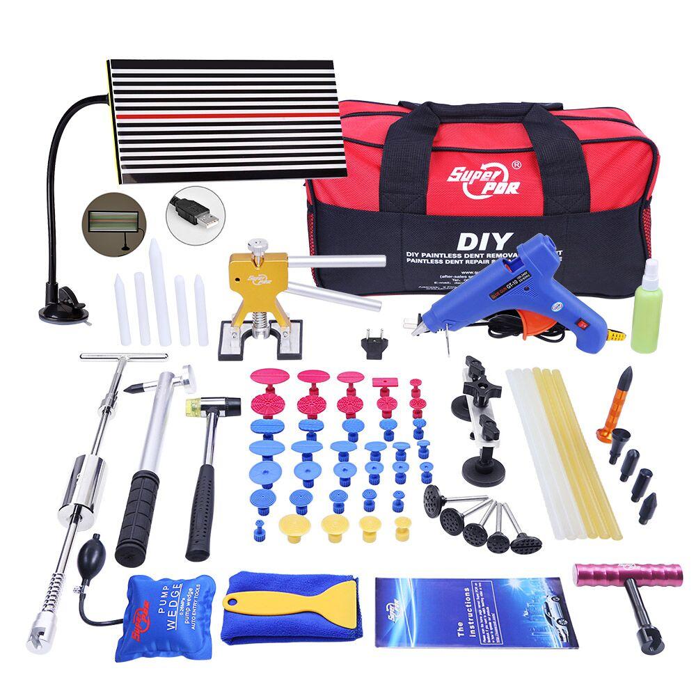 PDR Tools For Dent Removal Paintless Dent Repair Tools  LED Lamp Reflector Board Hammer Glue Tabs Fungi Tool Set Kit Ferramentas  цены