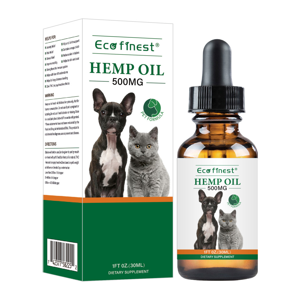 New 30ml Arganic Pet Hemp Seed Oil for dogs Natural Herbs of Pet Care Oil Anxiety Relief Pain Joint hip Strengtheens image