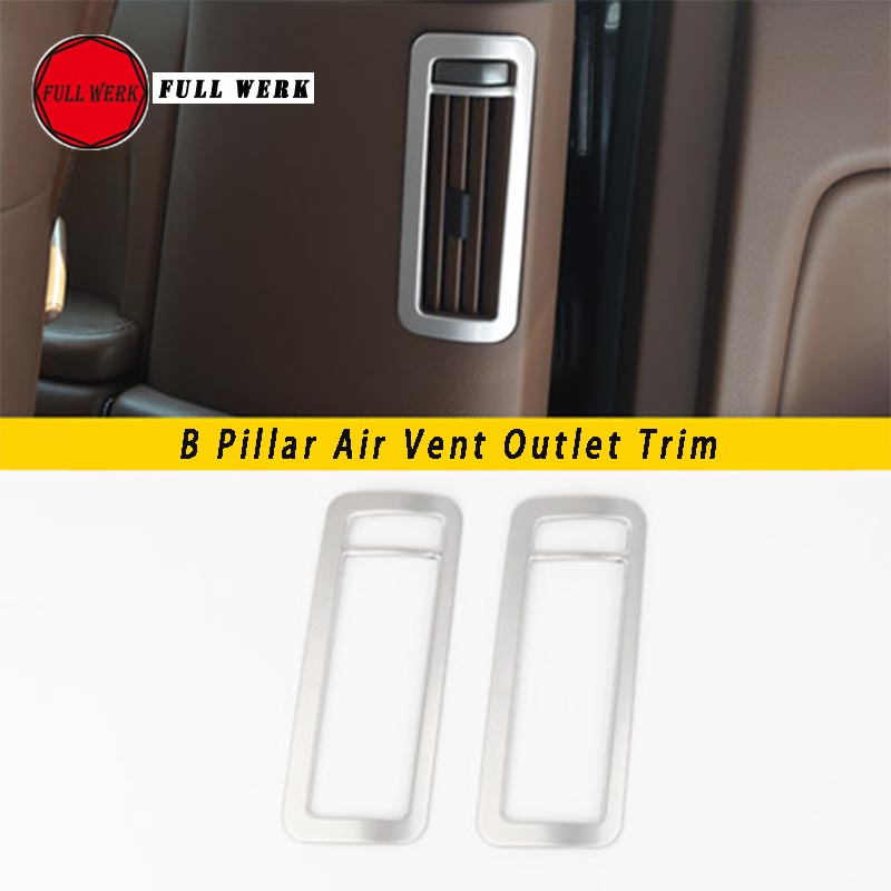 SS Car Styling B Pillar Air Conditioning AC Outlet Sequins Frame Cover Sticker Trim for VW